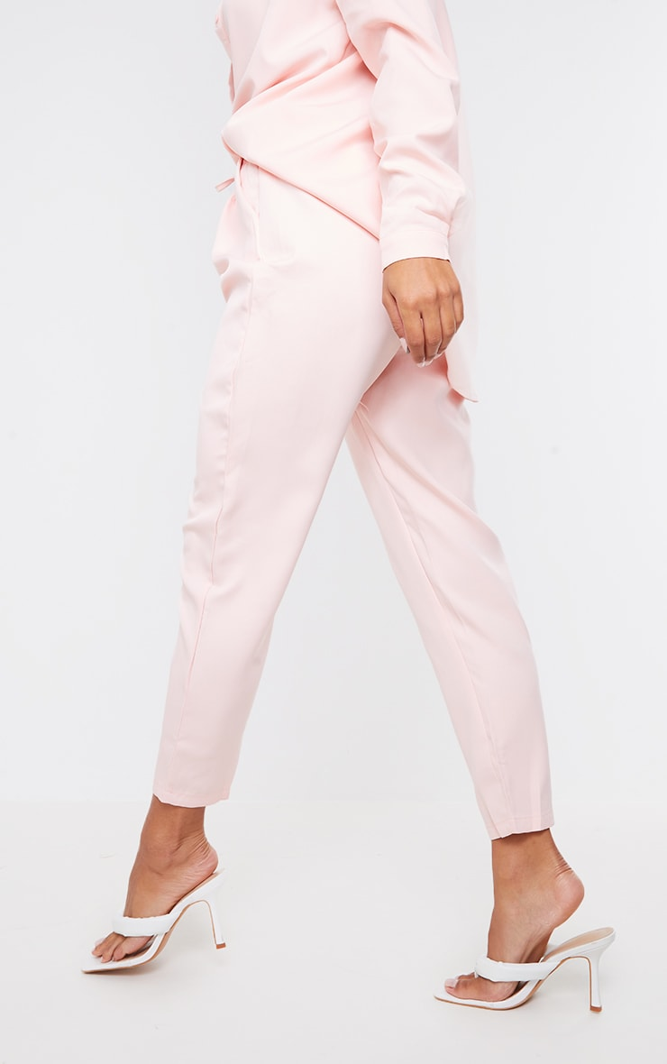 Pantalon cigarette rose clair 3