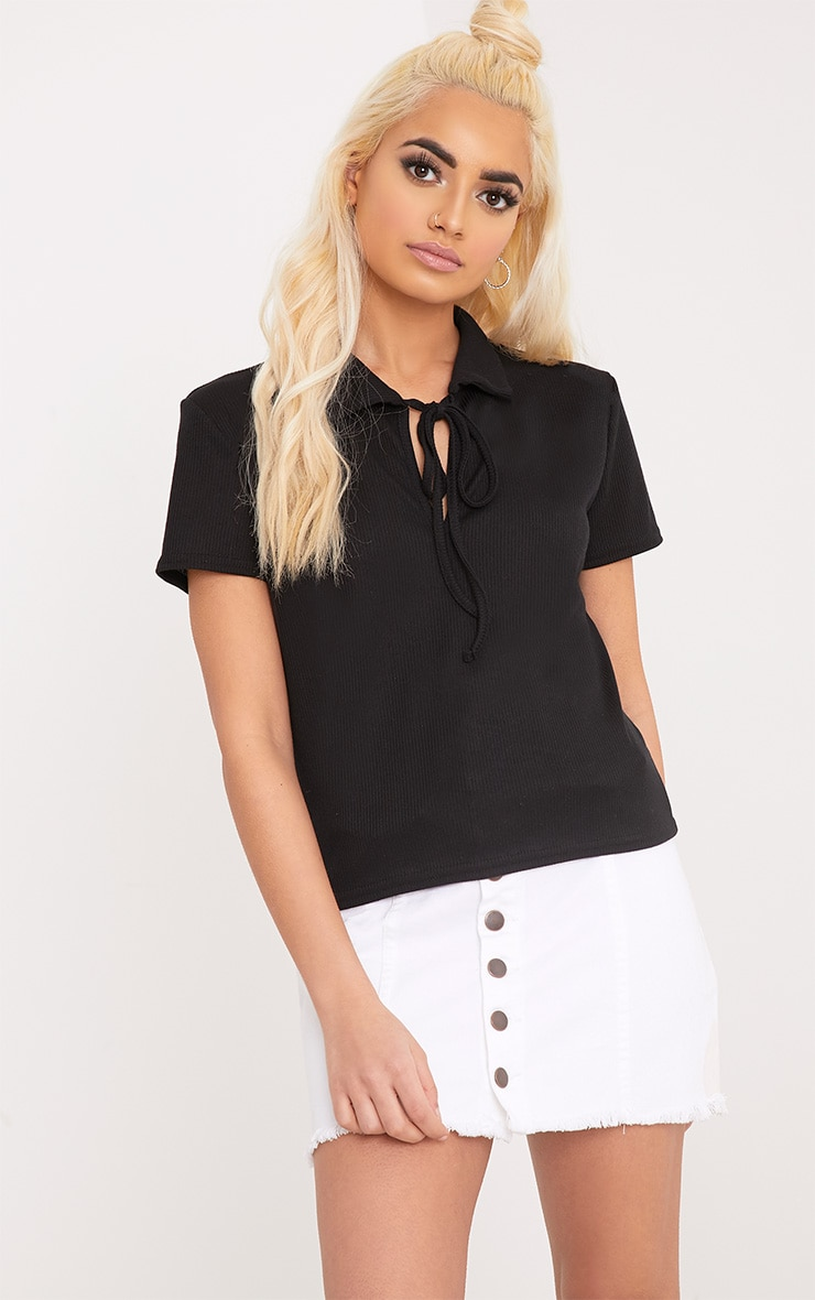 Jules Black Jersey Rib Polo Top 1