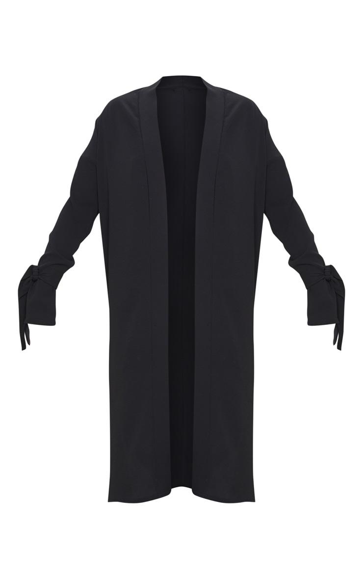 Aba Black Sleeve Tie Detail Duster Jacket 4