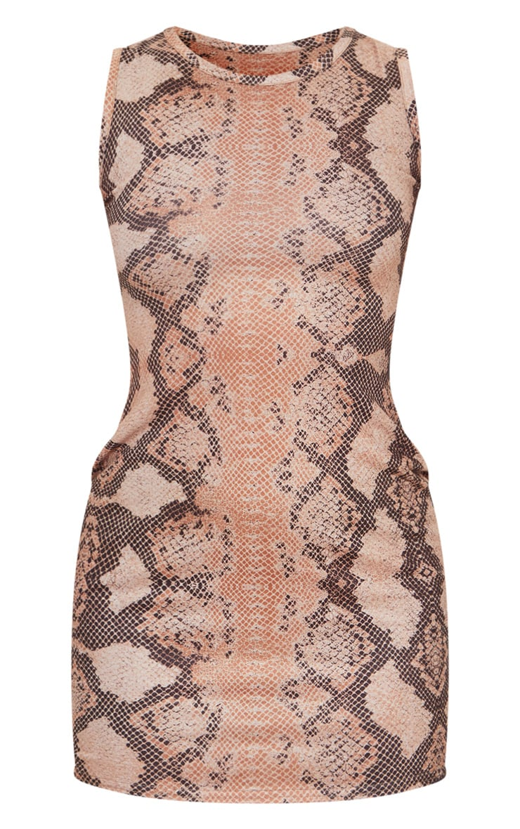 Petite Brown Snake Print Jersey Mini Dress 5