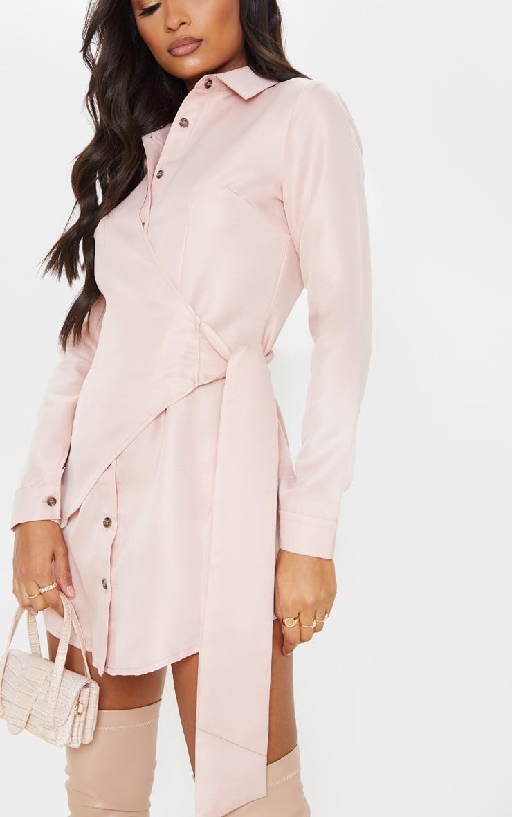 Blush Tortoise Button Wrap Tie Shirt Dress 5