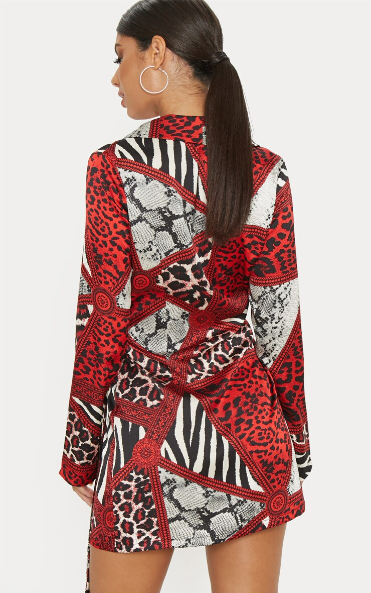 Red Satin Leopard Chain Print D Ring Blazer Dress 2