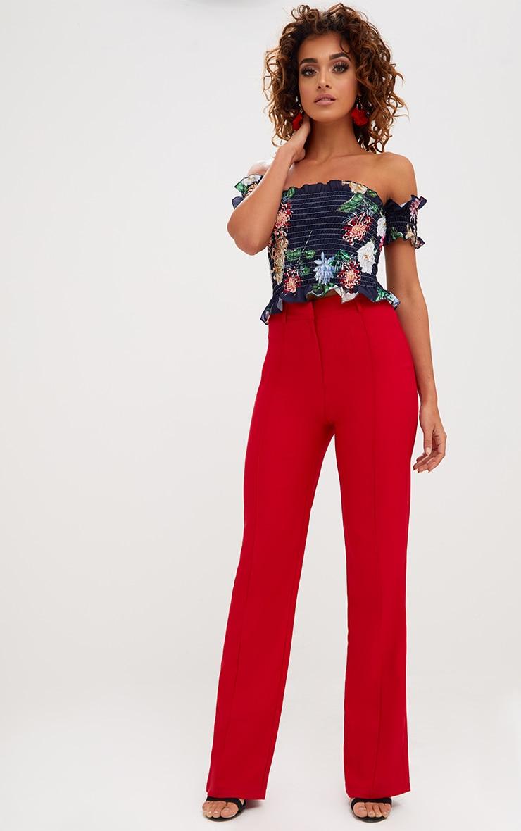 Navy Shirred Floral Print Bardot Crop Top 3