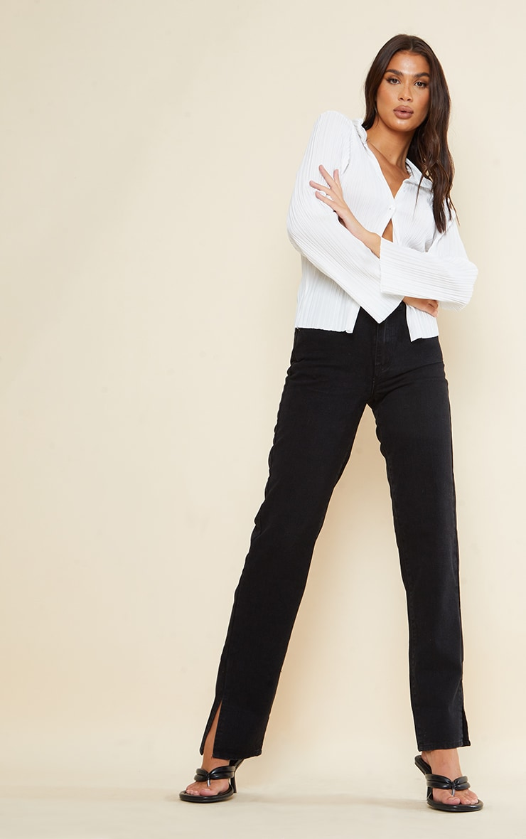 Tall Black Split Hem Jeans 1