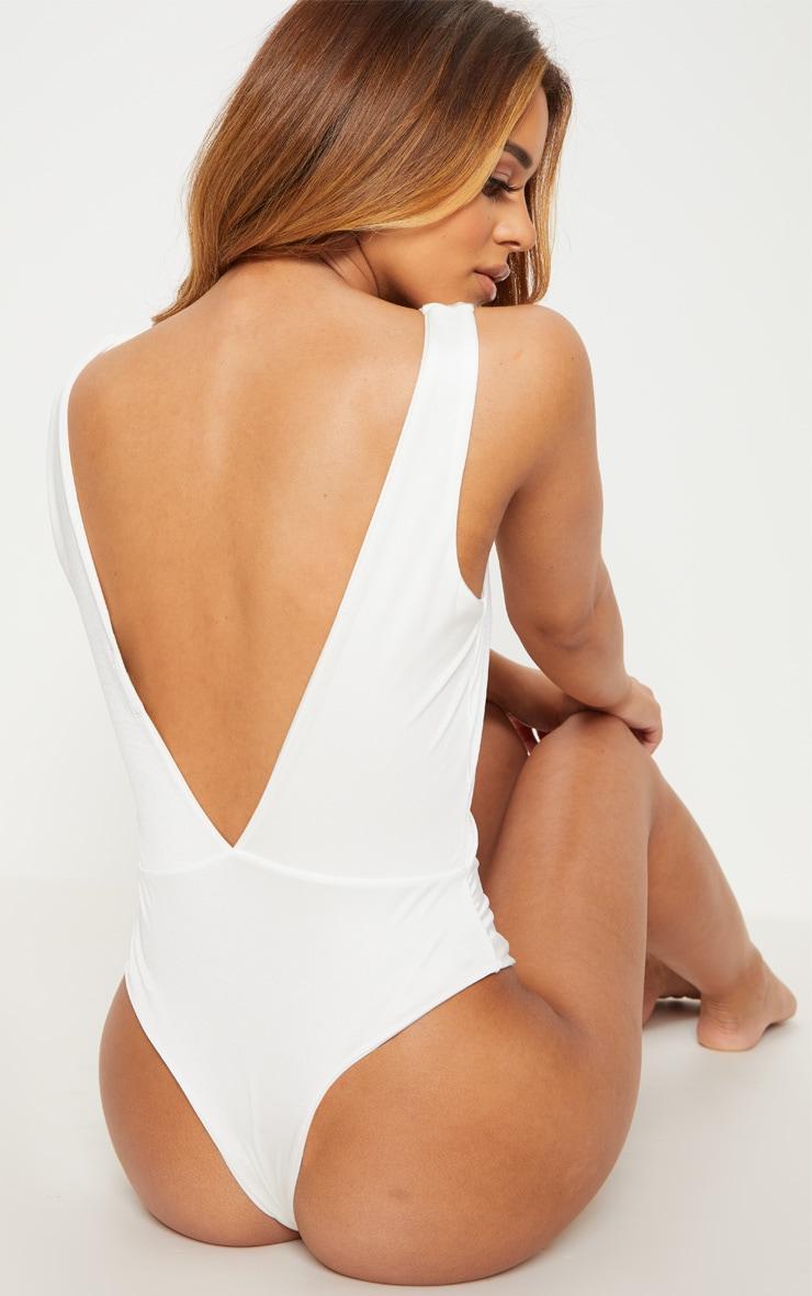 Petite White Plunge Swimsuit 2