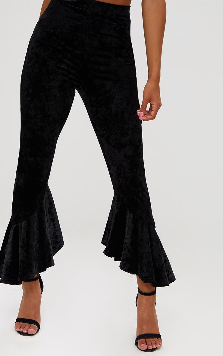 Petite Black Velvet Flare Hem Trousers 5