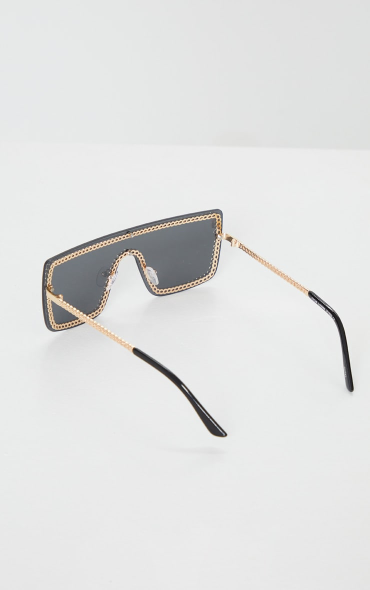 Gold Trim Black Revo Flat Sunglasses 4