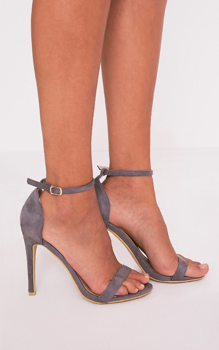 Clover Grey Faux Suede Strap Heeled Sandals 1