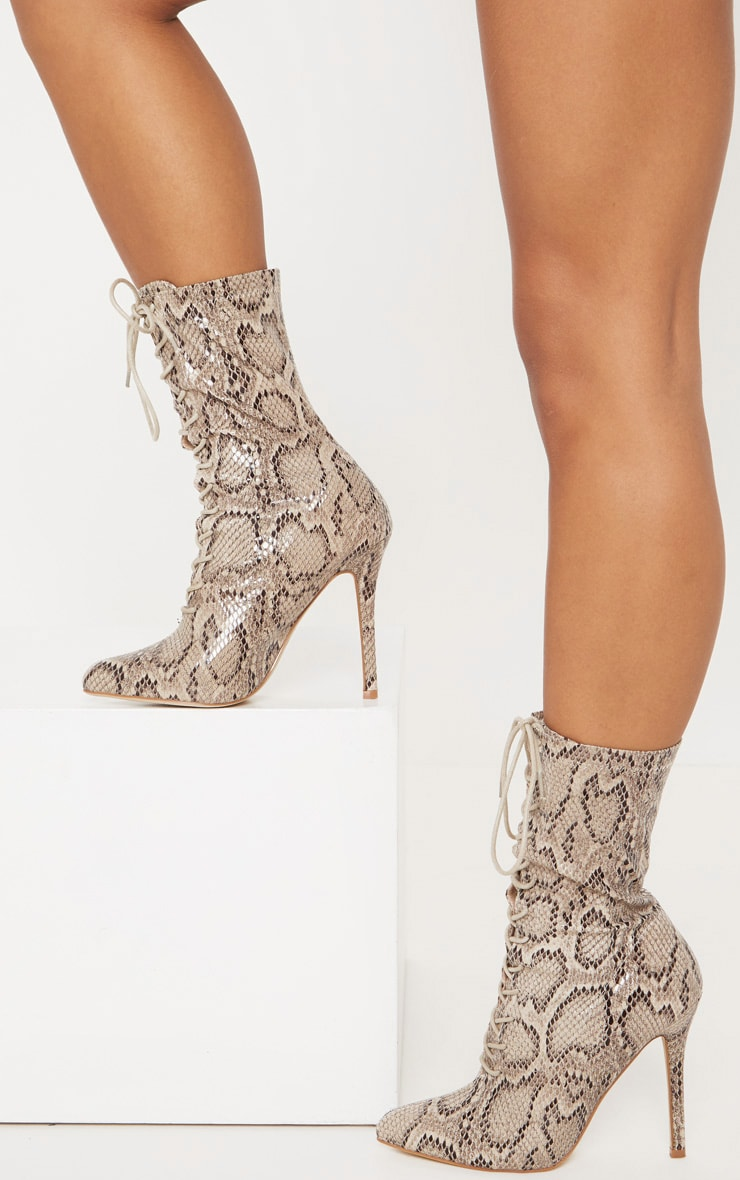Snake Faux Leather Lace Up Sock Boot 2