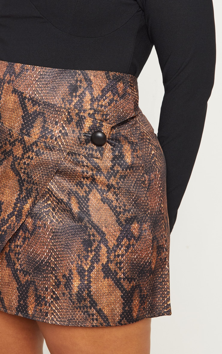 Plus Brown Snake Print Button Detail Wrap Mini Skirt 6