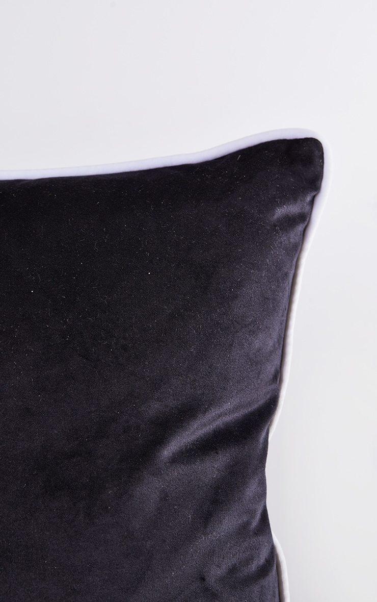 Black Velvet Filled Cushion With Contrast Piping 5