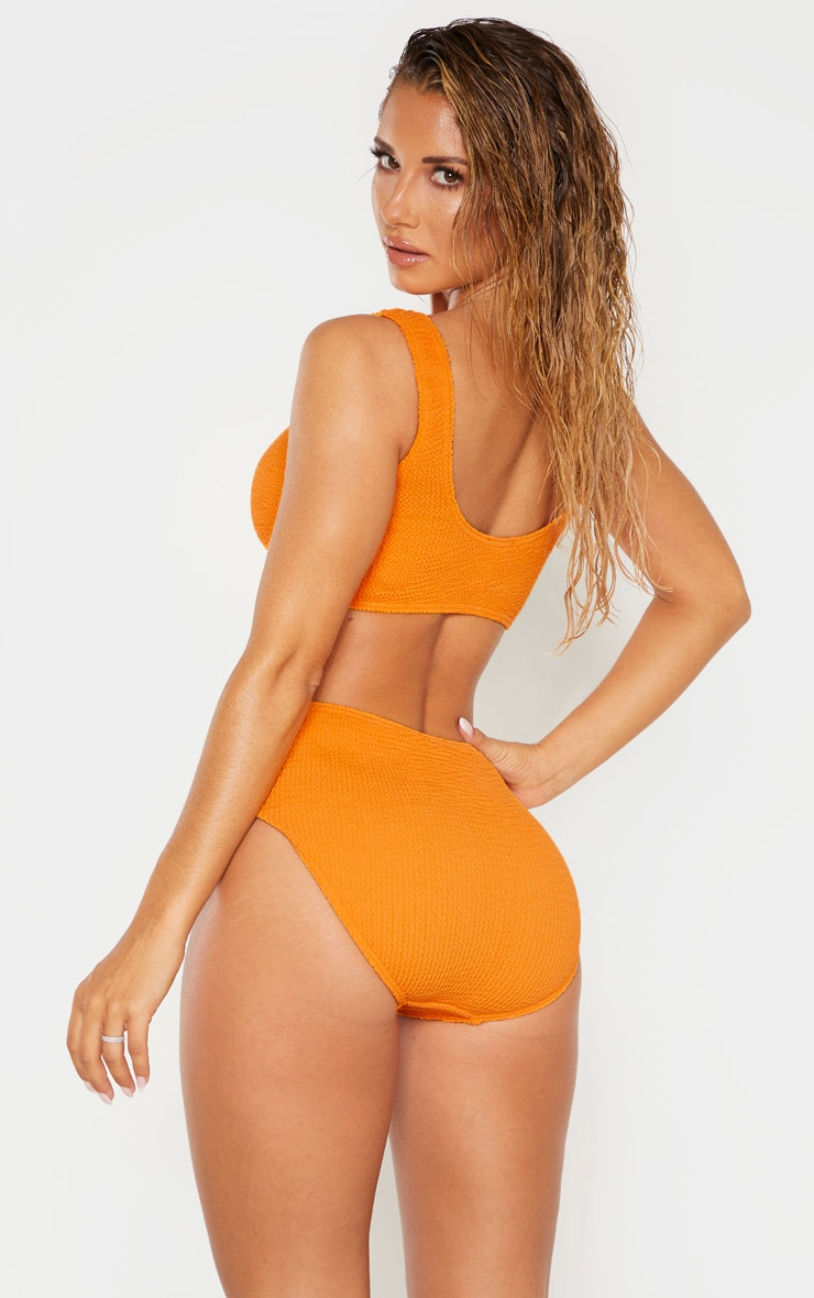 Orange Crinkle Deep Scoop Bikini Top 2