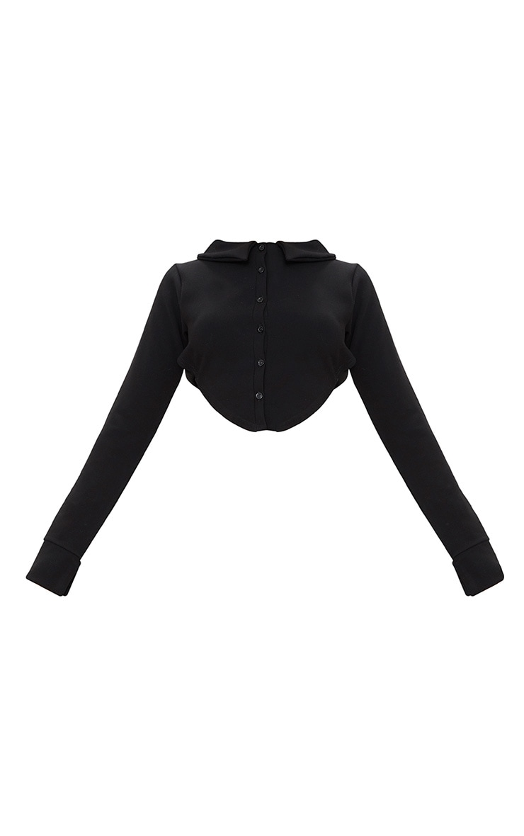 Black Button Front Open Back Long Sleeve Crop Top  3