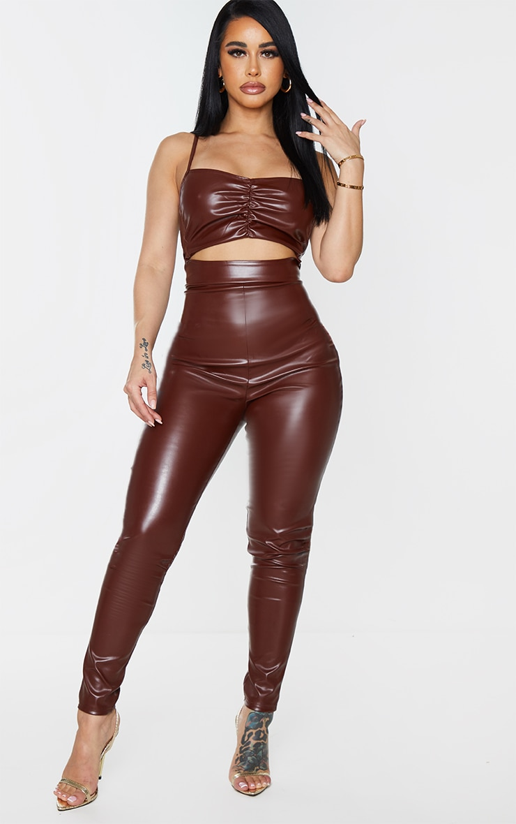 Shape Chocolate Brown PU Ruched Cut Out Jumpsuit 1