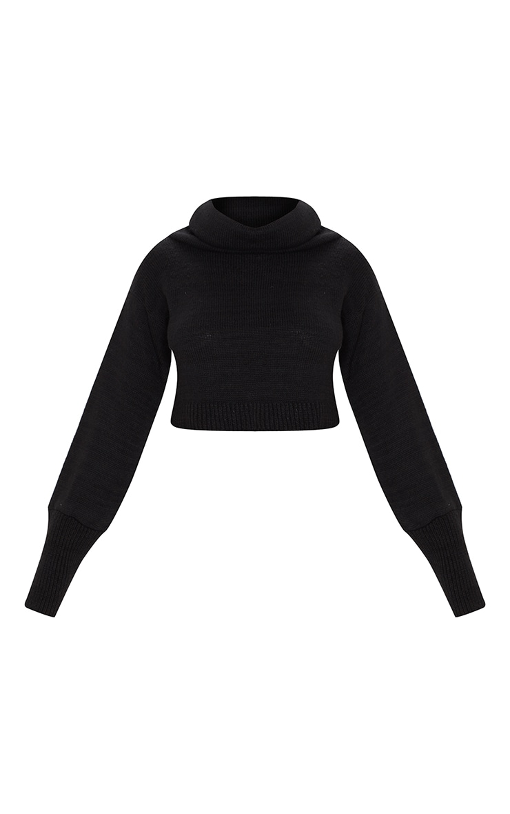 Black Roll Neck Cropped Sweater 3