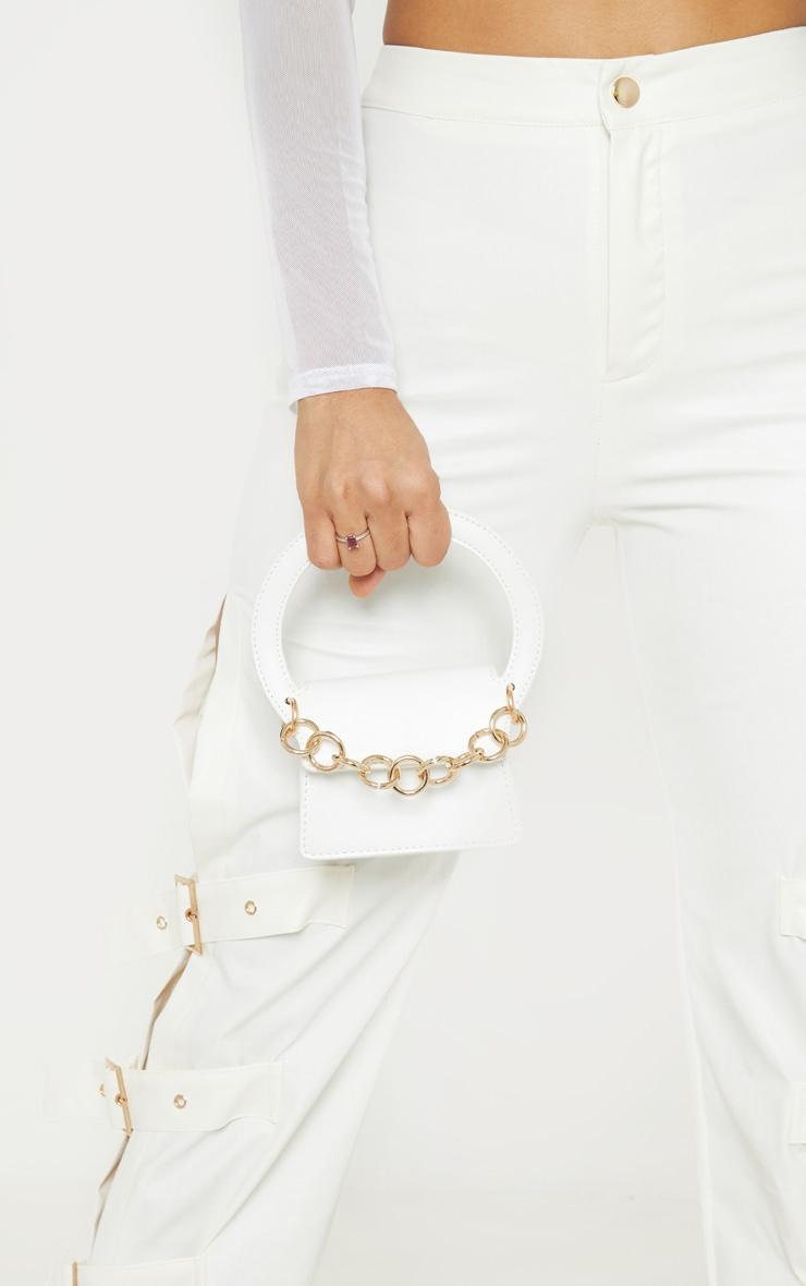 White Chain Trim Micro Mini Bag