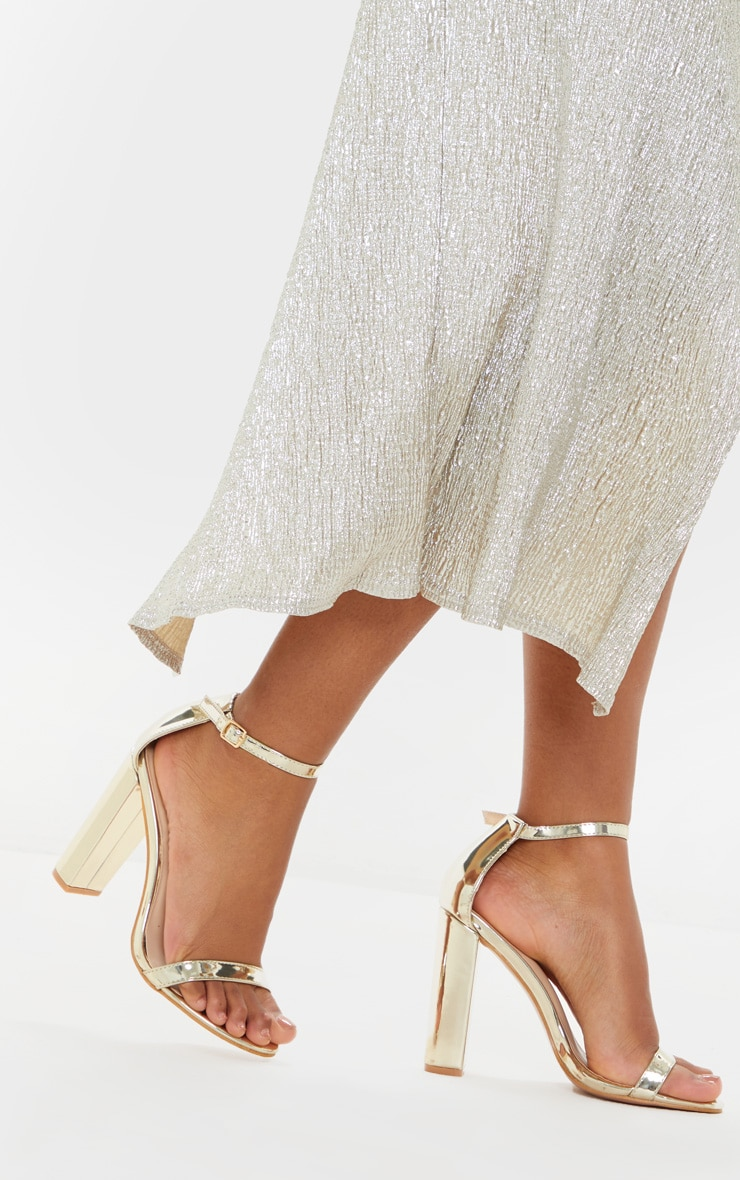 May Gold Block Heeled Sandal 2