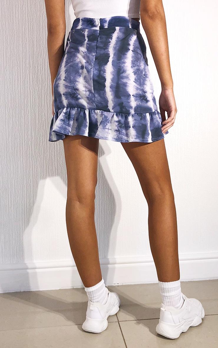 Black Tie Dye Frill Hem Wrap Mini Skirt 3