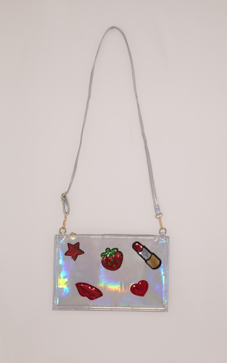 Carly Silver Holographic Patch Detail Clutch Bag 4