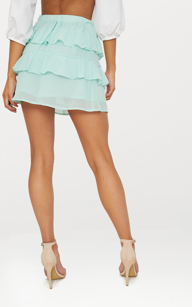 Sage Green Chiffon Ruffle Mini Skirt 3