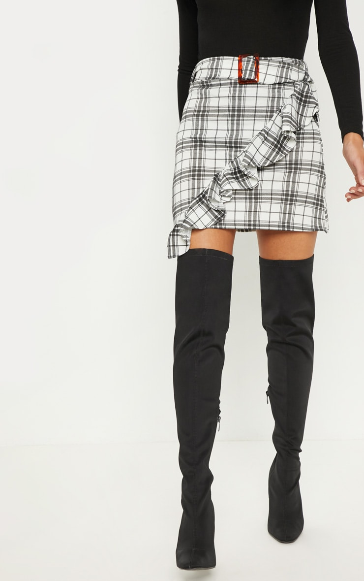 Black Check Belted Waist Frill Detail Mini Skirt 2