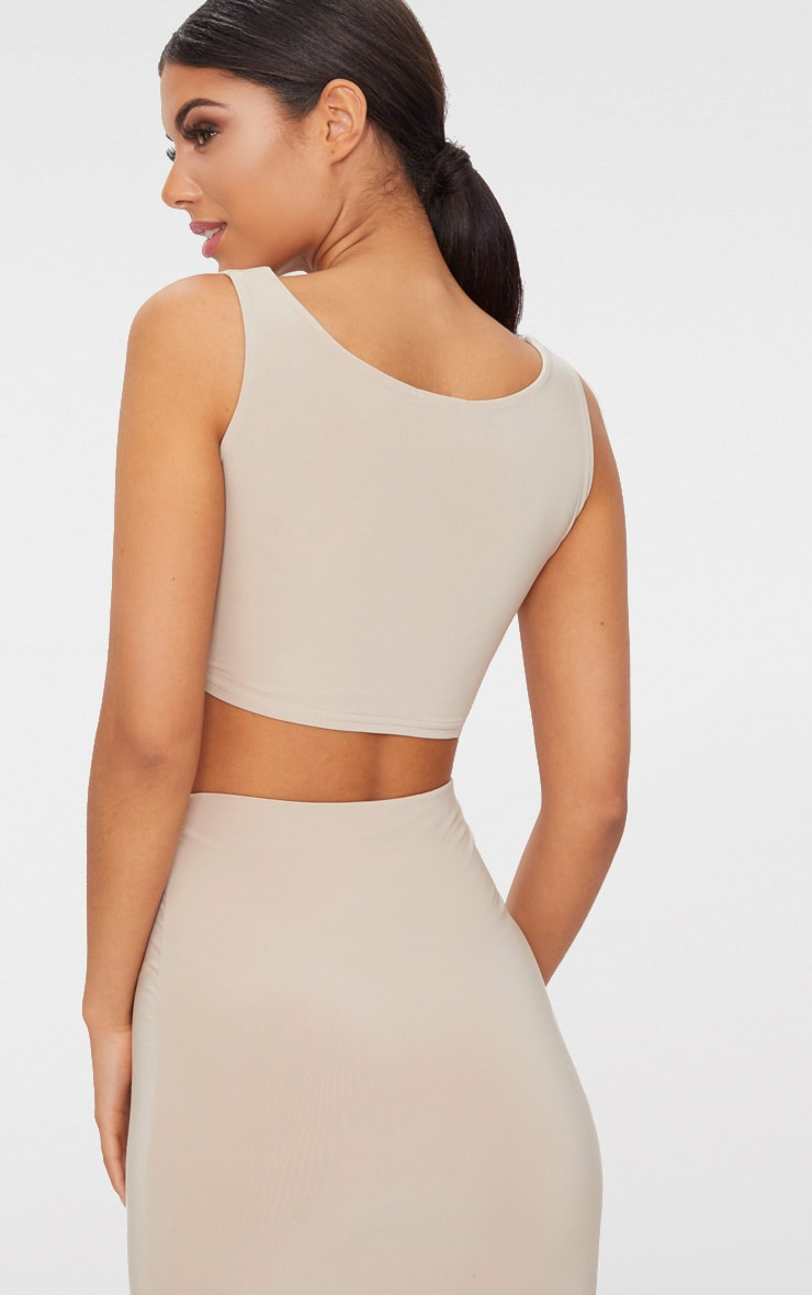 Stone Slinky Round Neck Sleeveless Crop Top  2