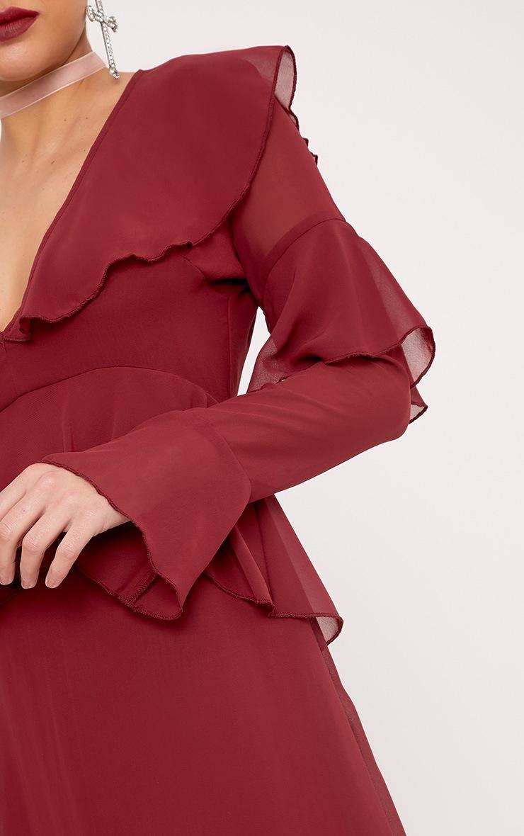 Kaselia Burgundy Frill Detail Midi Dress 5