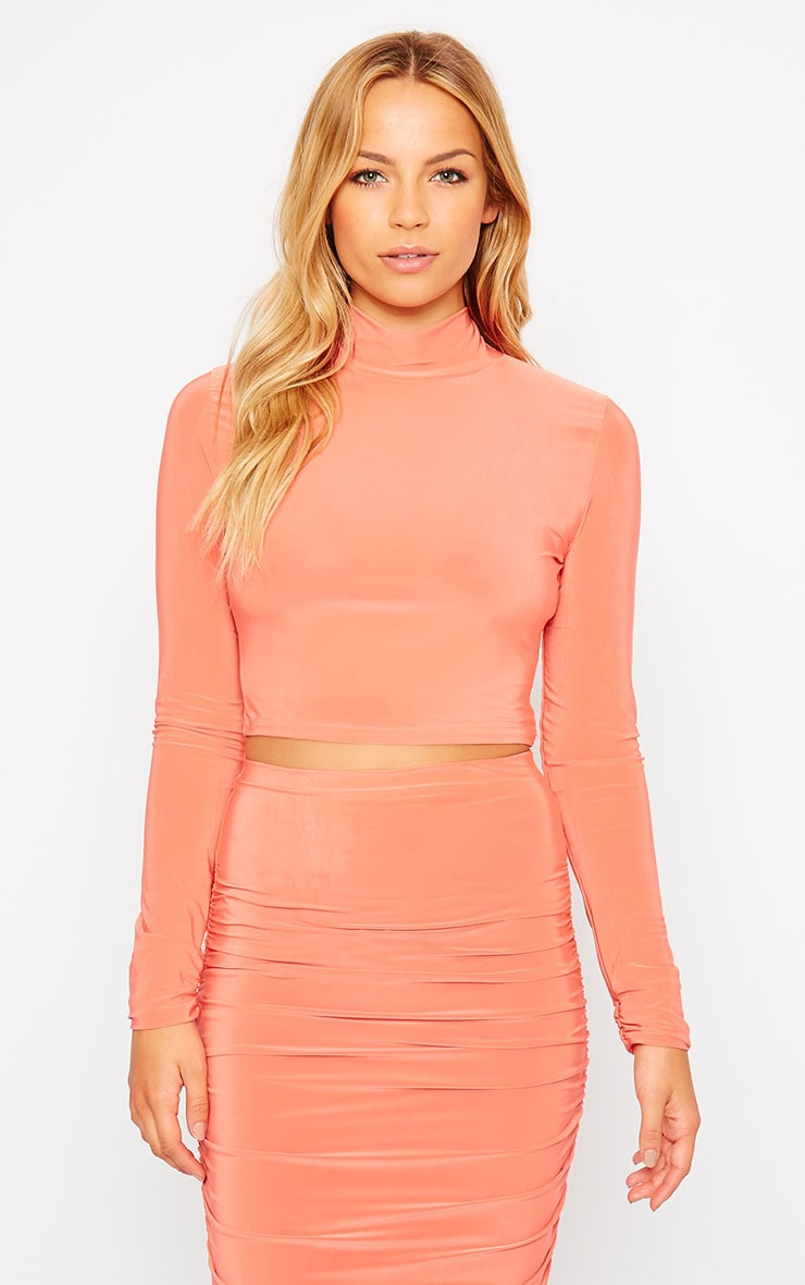Saylor Orange Slinky Turtle Neck Crop Top 4