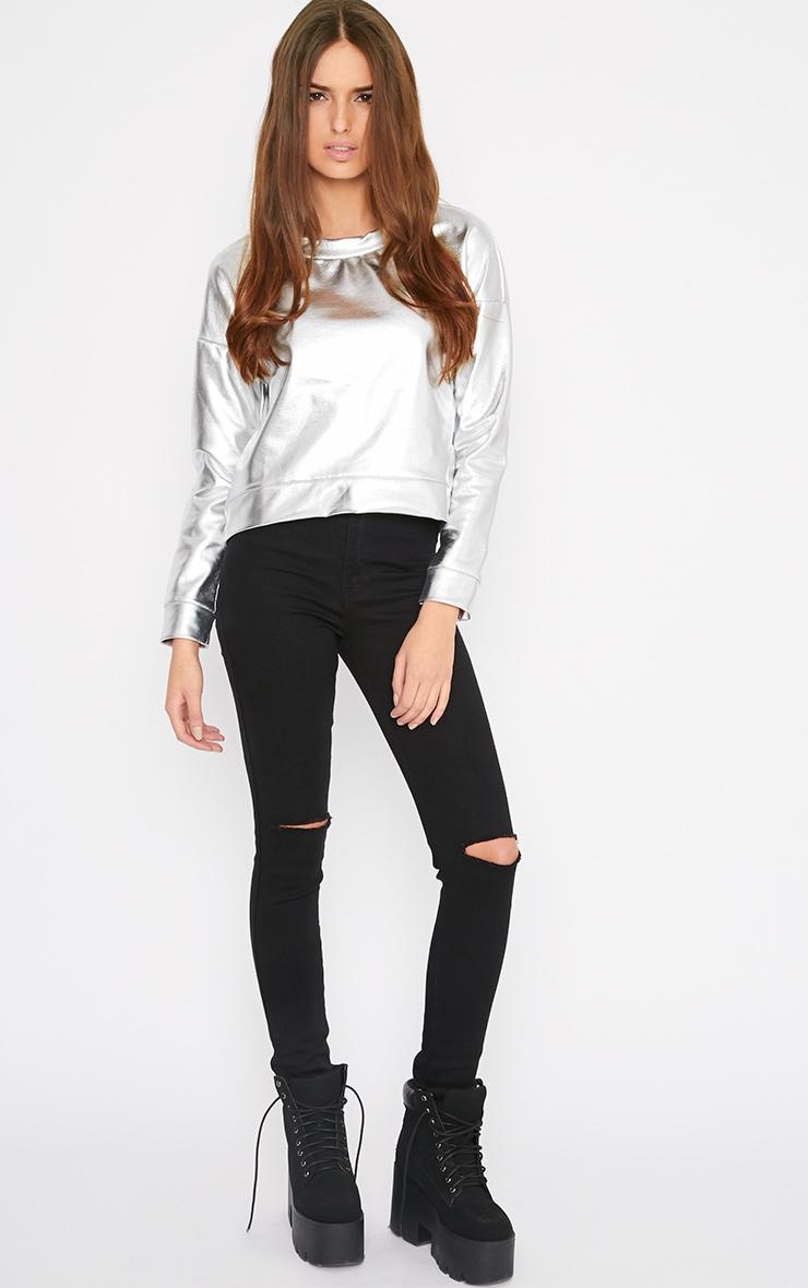 Sherri Silver Metallic Curved Hem Leather Look Sweater 1