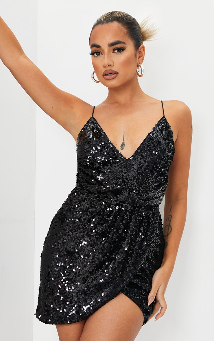 Petite Black Sequin Wrap Front Strappy Bodycon Dress 1