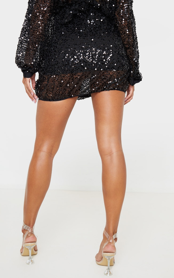 Black Mesh Sequin Mini Skirt 4
