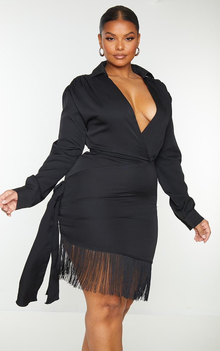 Plus Black Long Sleeve Tassel Hem Drape Detail Bodycon Dress 3