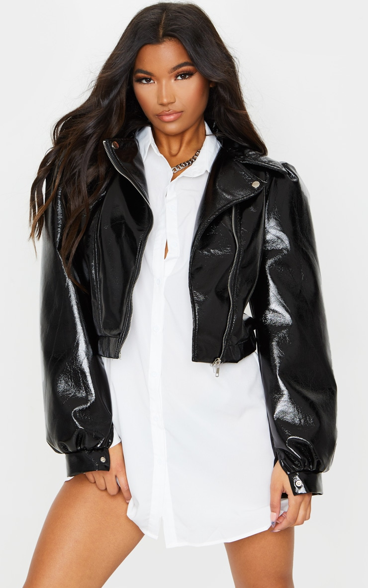 Black Vinyl Puff Sleeve Biker Jacket 3