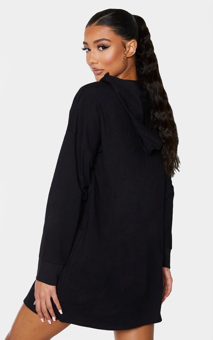 Black Long Sleeve Hoodie Detail T Shirt Dress 2