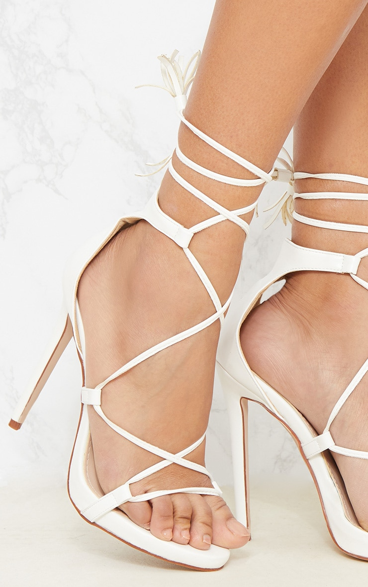 Rosaline White Tassel Lace Up Heels 6