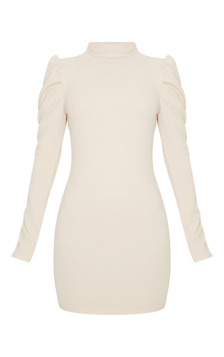 Stone High Neck Puff Shoulder Bodycon Dress 3
