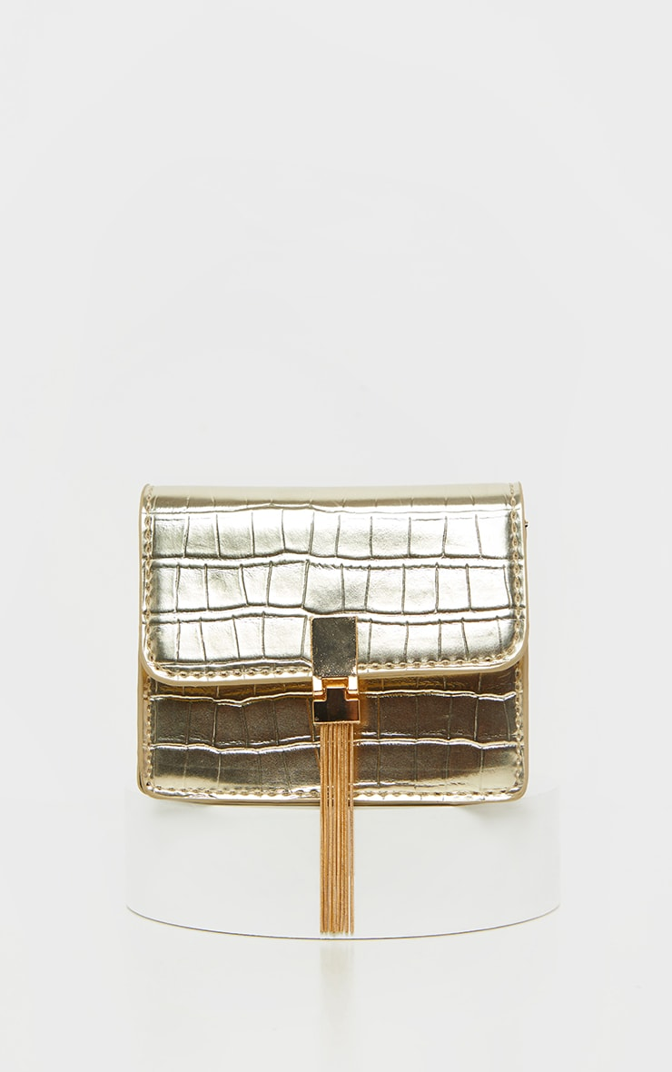 Gold Croc Cross Body  Bag 2
