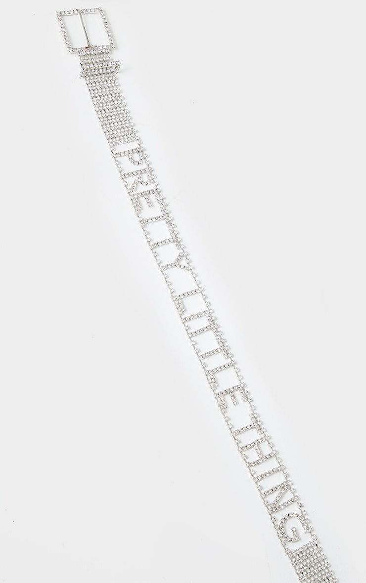 PRETTYLITTLETHING Silver Diamante Belt 3