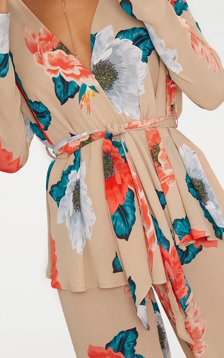 Nude Large Floral Tie Waist Blouse 5