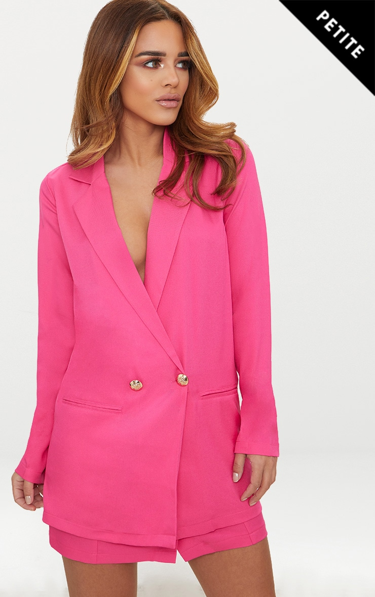 PETITE HOT PINK BUTTON DETAIL BLAZER