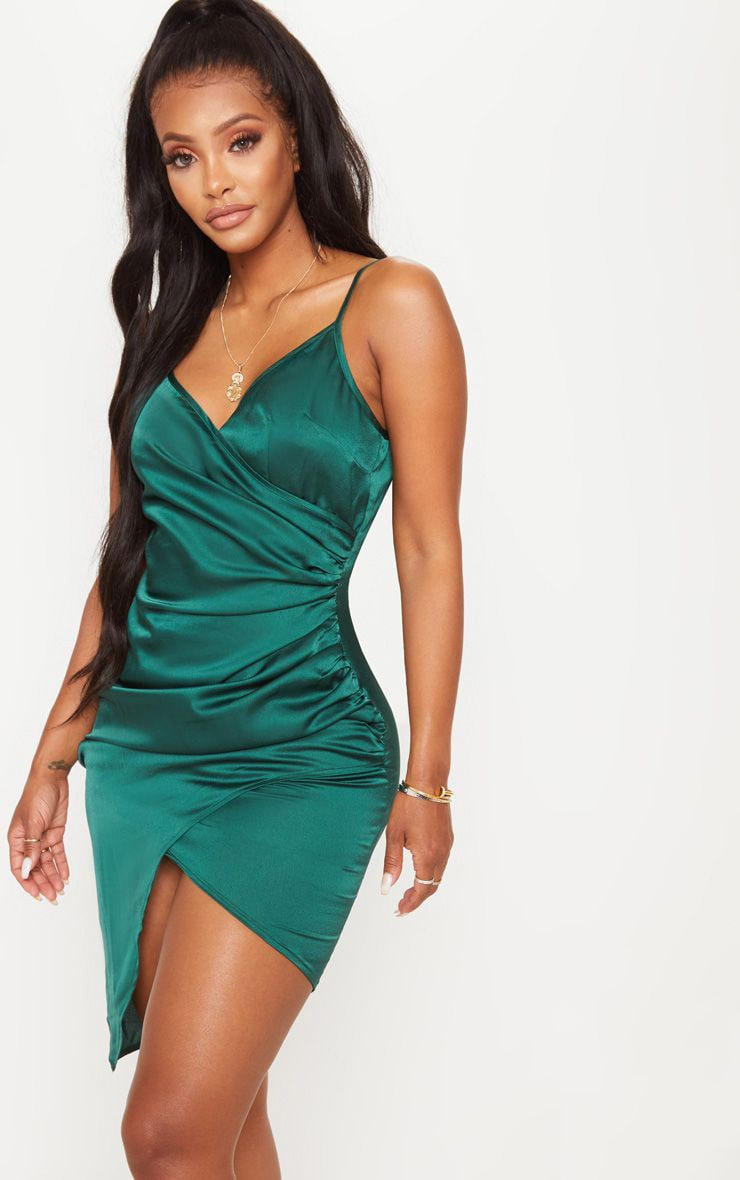 Shape Emerald Green Satin Wrap Dress 1