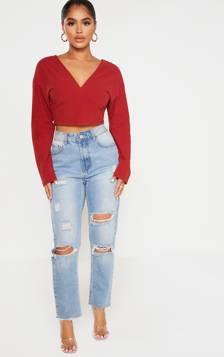 Petite Burgundy Tie Back Cropped Blouse 4