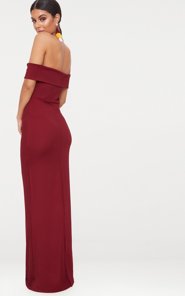 Burgundy Bardot V Plunge Maxi Dress 2