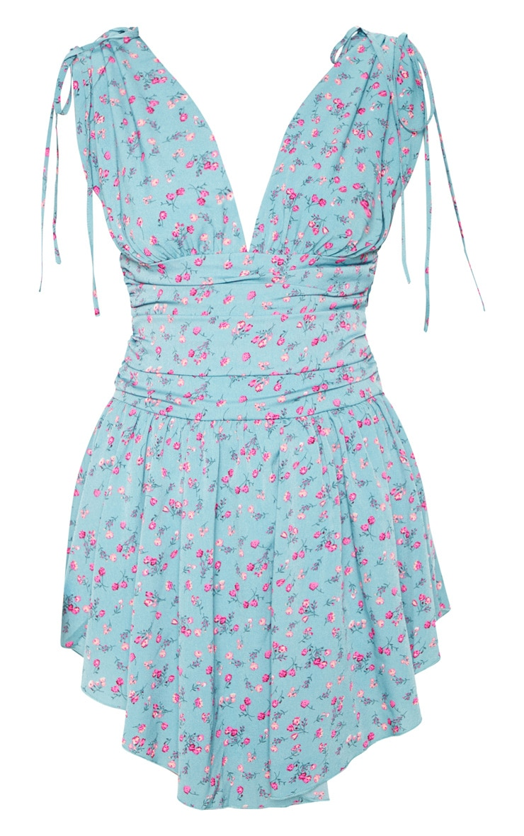 Aqua Blue Floral Print Plunge Ruched Waist Asymmetric Hem Shift Dress 3