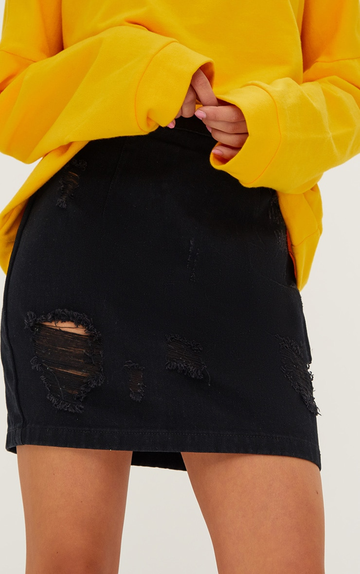 Black Open Thigh Rip Denim  Mini Skirt 6
