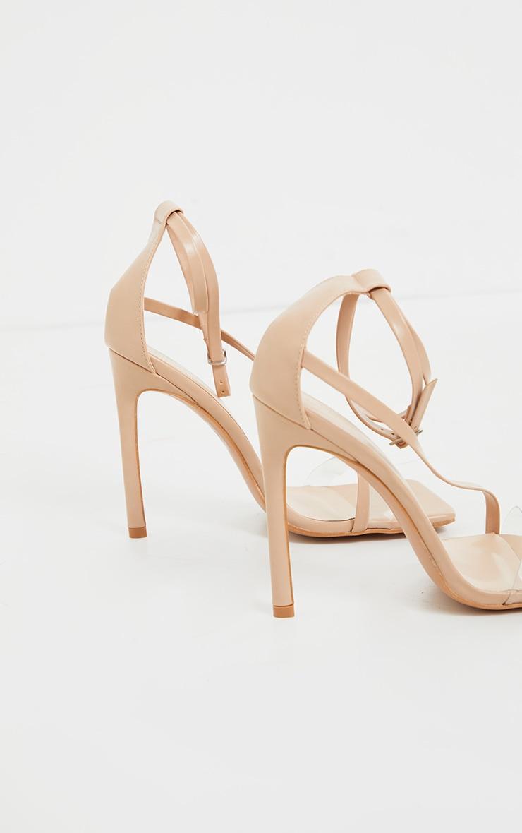 Nude Wide Fit Square Toe Asymmetric Strap Sandal 3