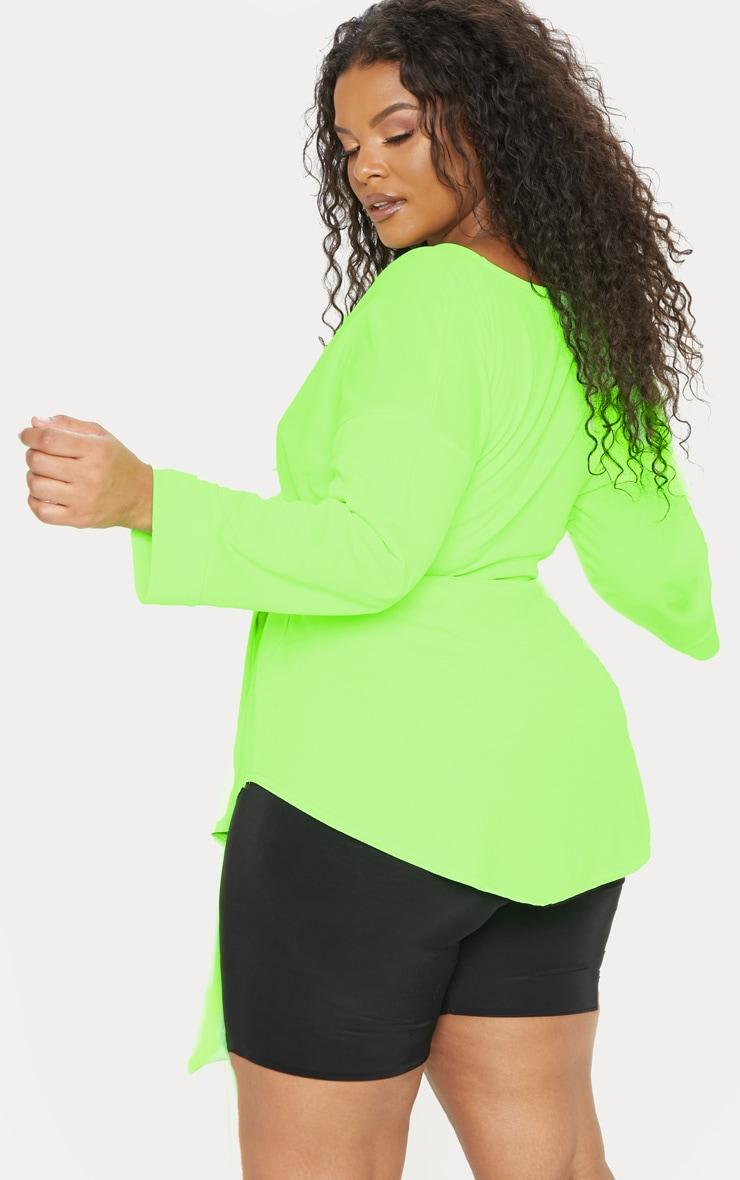 Plus Neon Lime Tie Waist Blouse 2