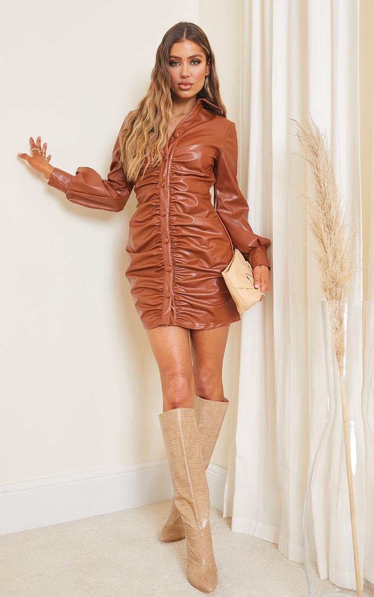 Chocolate PU Ruched Shirt Style Bodycon Dress 3