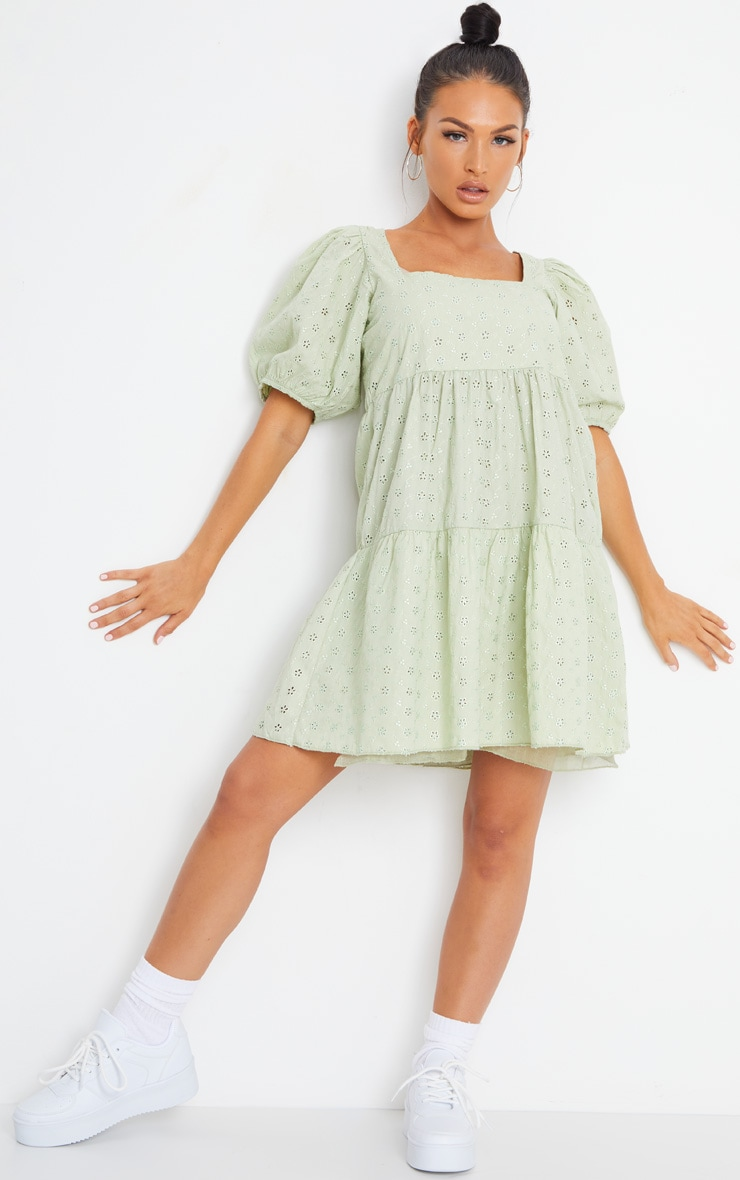 Pale Lime Broderie Smock Dress with Square Neck 3