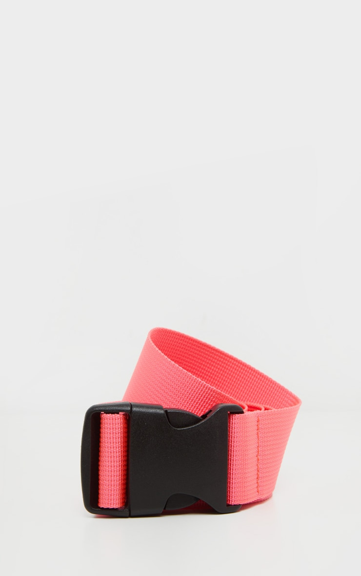 Neon Pink Slider Buckle Tape Belt 1